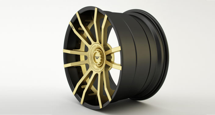 Finishing sample: gold coated center with black outside rim