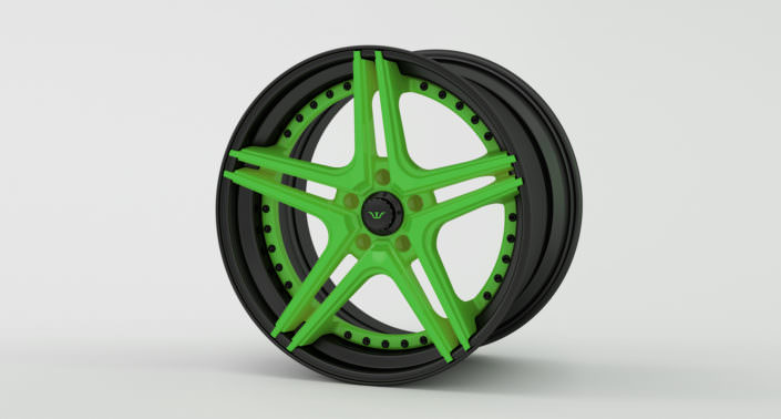 Finishing sample: matte black outside rim with a green center