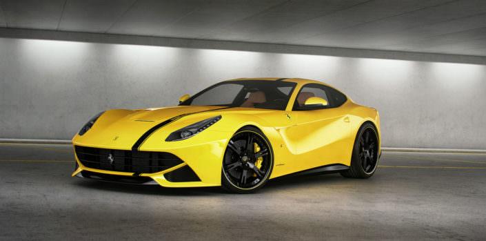 Ultraleichte, 3-teilige Schmiedefelgen 6Sporz² für Ferrari F12 Berlinetta mit Radsternen in mattschwarz und Outlines in Fahrzeugfarbe