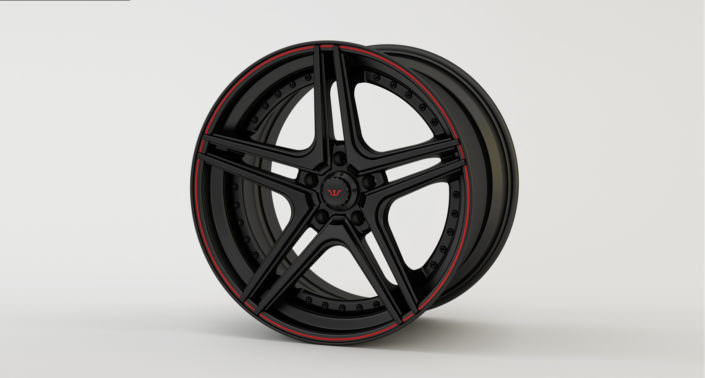 Finishing sample: matte black FiveStar wheel red outline and red Wheelsandmore logo