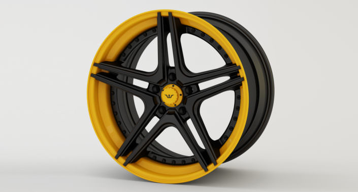 Finishing sample: matte black center with yellow outside rim and center cap