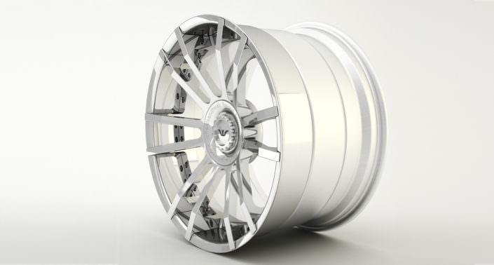 Finishing sample: full glossy wheel looking like chrome