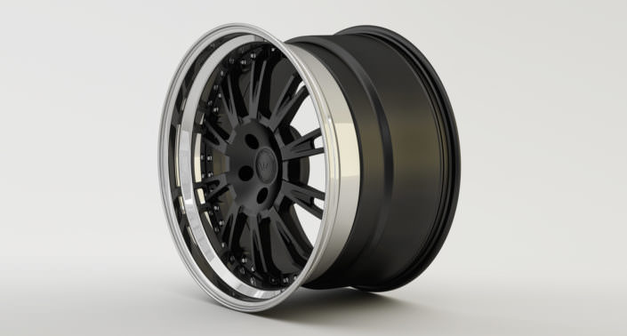 Matte black Du-L wheel with stainless steel outside rim