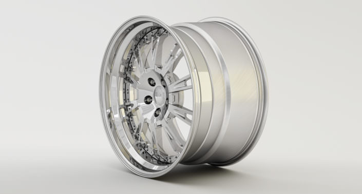 Full glossy Du-L wheel with stainless steel outside rim