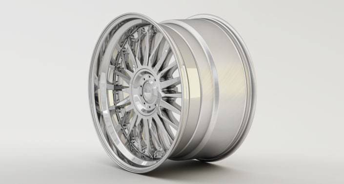 Full glossy C-Sport wheel with stanless steel outside rim