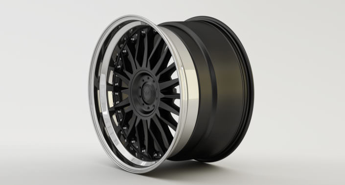 Matte black C-Sport wheel center with stanless steel outside rim