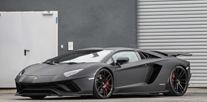 front view black aventador s with wheels