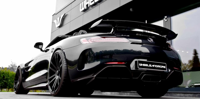 rear view black amg gtr roadster tuning wheelsandmore