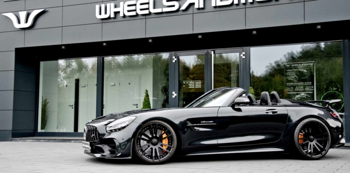front side view black amg gtr roadster tuning