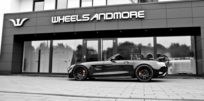 side view black amg gtr roadster tuning wheelsandmore