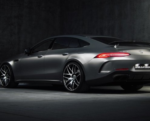 rear side view of mercedes gt63 from wheelsandmor with capristo exhaust