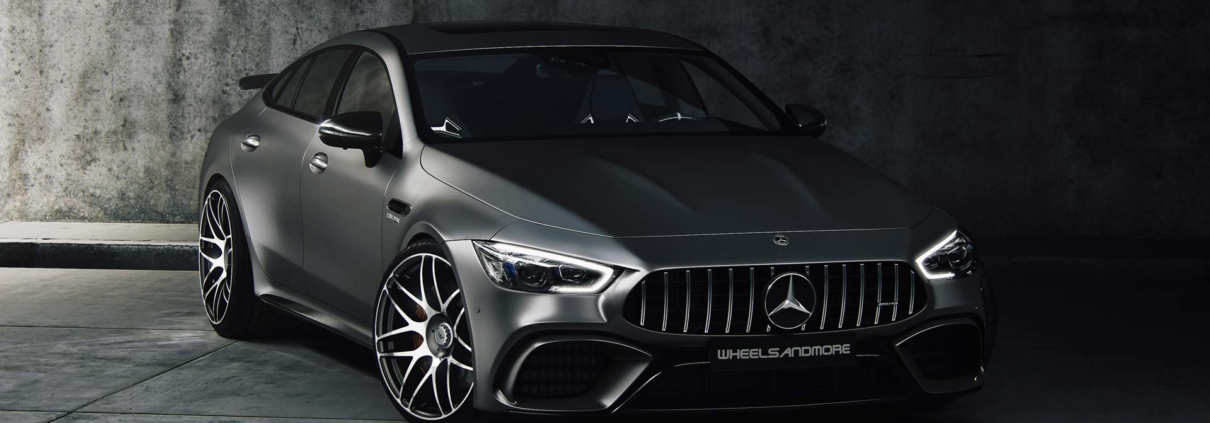 Full frontal view on anthracite Mercedes GT63 tuning conversion from wheelsandmore with 810hp
