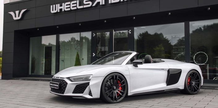 side view audi r8 v10 spyder with wheels and power upgrade wheelsandmore