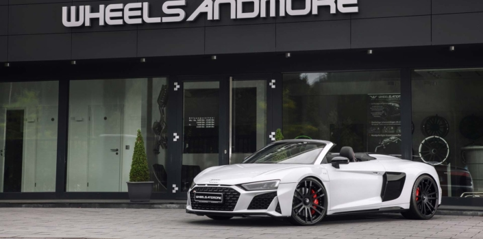 front right side view white r8 spyder 2020 with tuning components made in germany
