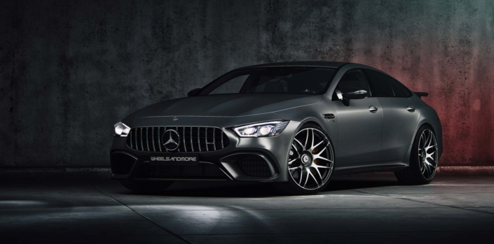 frontal view mercedes gt63 with massive 22 inch tuning wheels