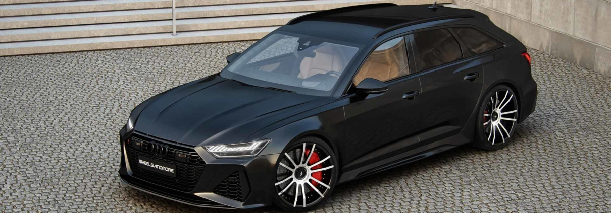 fiwe wheels on audi rs6 in black in front of stairs