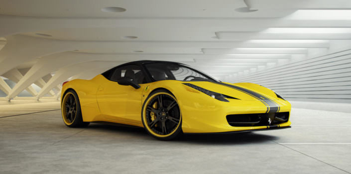 ferrari tuning 458 with 21 inch wheels forged
