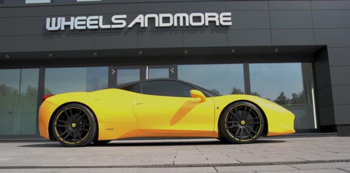 yellow ferrari 458 with 21 inch fiwe wheels