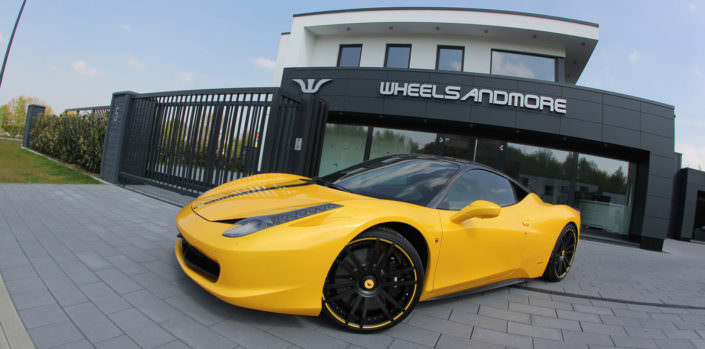 yellow 458 tuned by wheelsandmore with wheels 21 inch, lowering suspension and exhaust