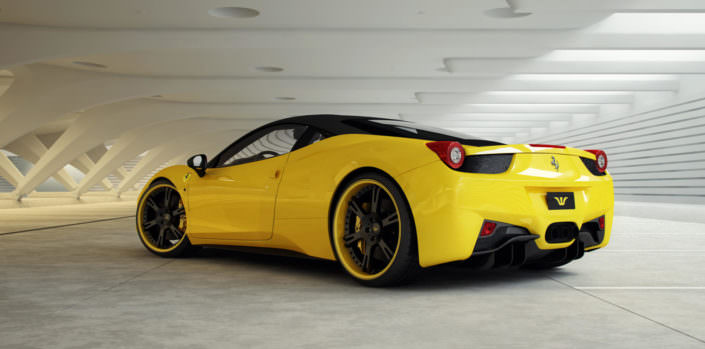 458 with custom 6sporz wheels black center and yellow outside rims