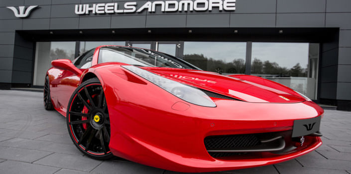red 458 spider ferrari with ultrawide tuning wheels fiwe