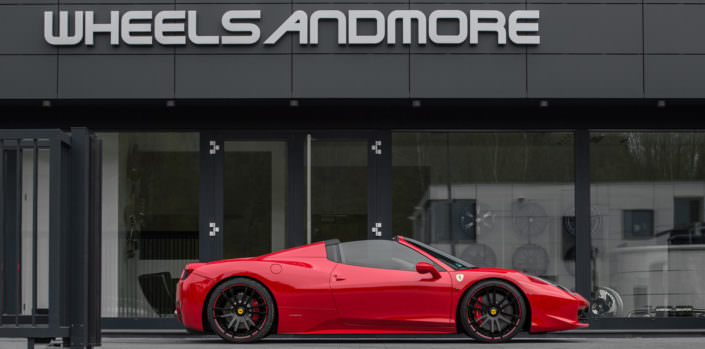 modular concave fiwe wheels 21 inch on ferrrari 458 in red