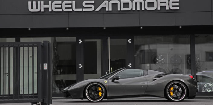 21 inch 6sporz wheels on grey ferrari 488