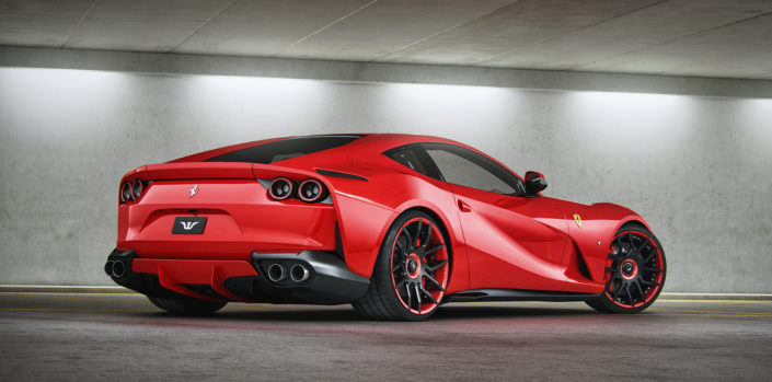rear side view red Ferrari 812 Superfast tuning