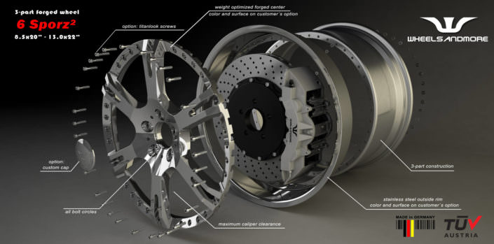 ultralight 6sporz forged modular wheels for ferrari california