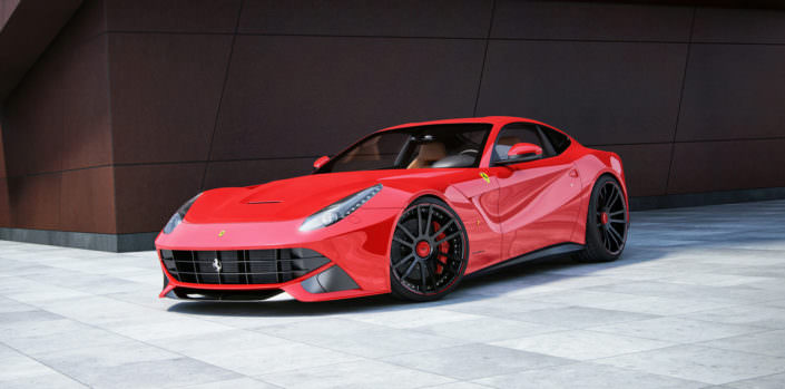 red ferrari f12 with tuning wheels fiwe 21 and 22 inches