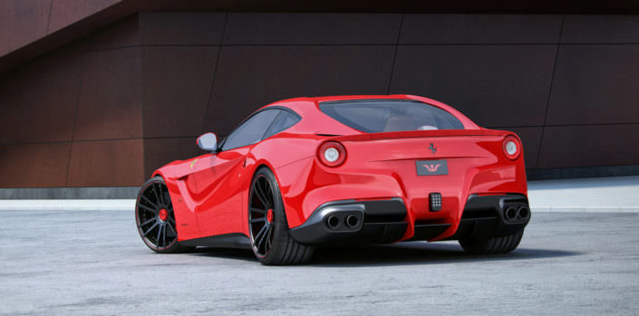 perfect red ferrari f12 with ehxaust and 21/22 inch wheels