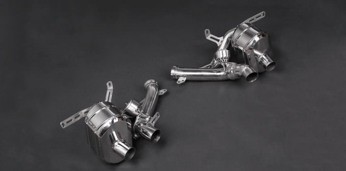 polished stainless steel exhaust for ferrari f12