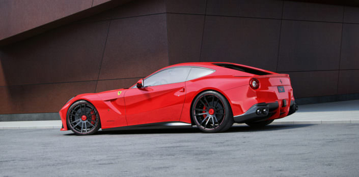 red ferrari f12 with 21 and 22 inch concave wheels