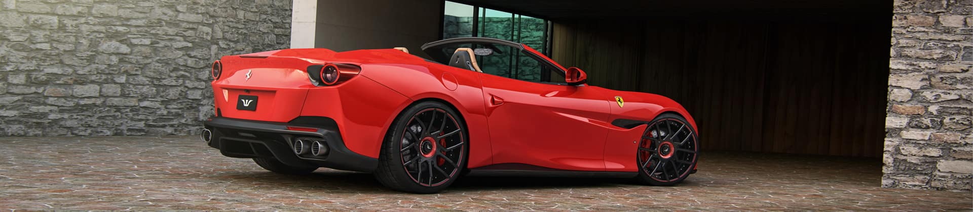 side rear view tuned red portofino wheelsandmore