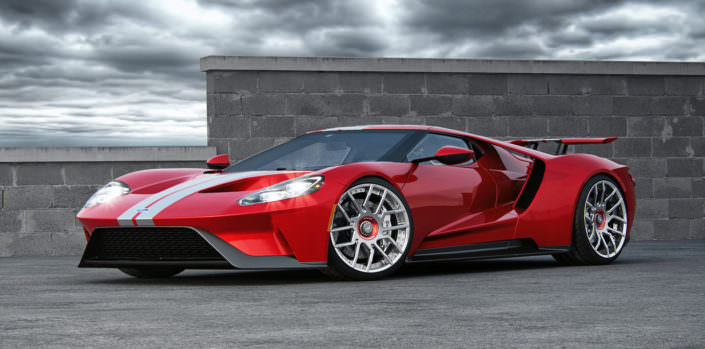 fornt sied view red Ford GT 2017 with FORK wheels
