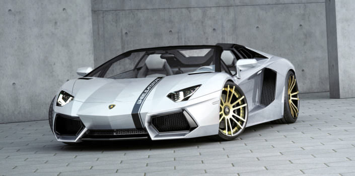 aventador roadster front view with fiwe concave wheels in gold