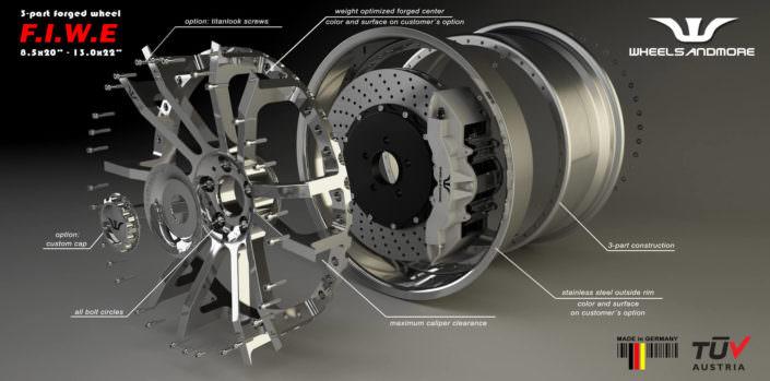multipart concave fiwe wheel for gallardo