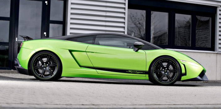 side view of green lamborghini superleggera