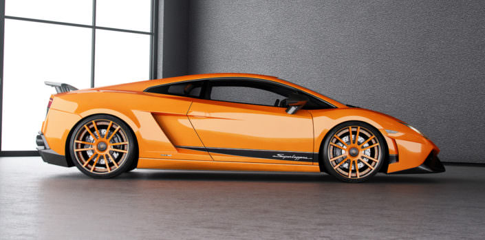 indivdiual fiwe wheel with orange coating on superleggera