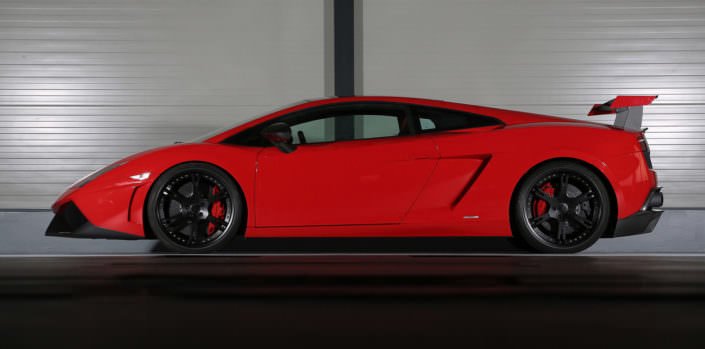 red super trofeo lamborghini sideview with 6sporz wheels