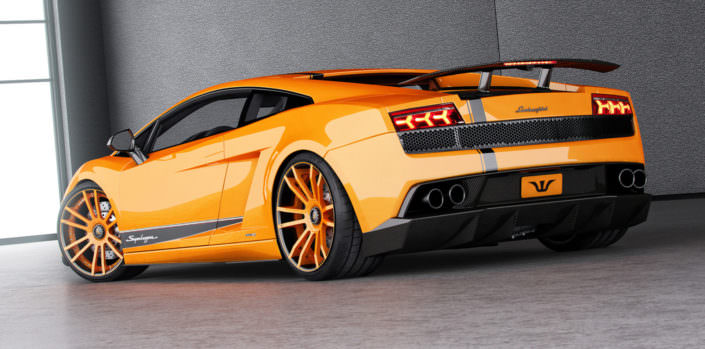 rear vie orange superleggera tuning with concave fiwe wheels