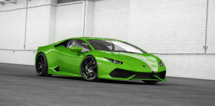 huracan with 20/21 inch wheels in matte black with green outline