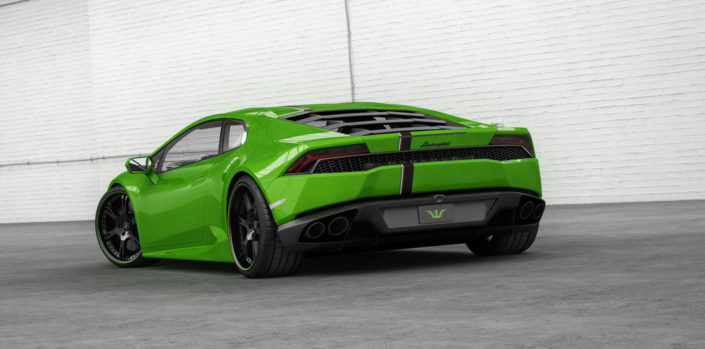 rear view on green huracan with 6sporz ultralight forged wheels
