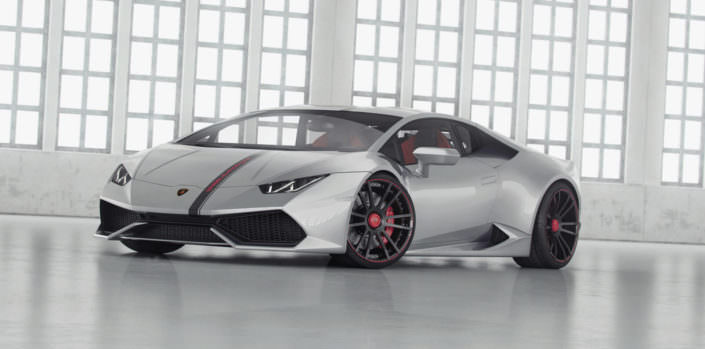 silver huracan with balck red fiwe wheels 20 and 21 inch