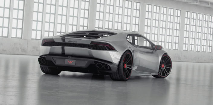 rear view silver huracan with concave tuning wheels fiwe