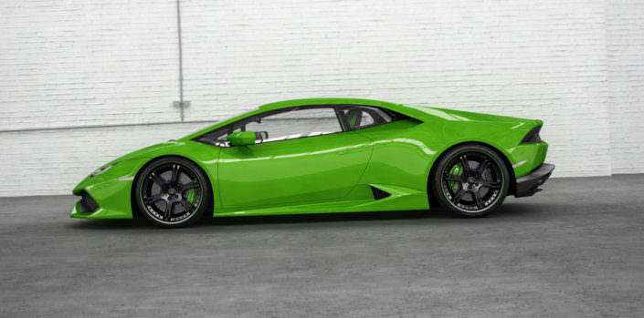 green huracan with black 6sporz² wheels and exhaust side view
