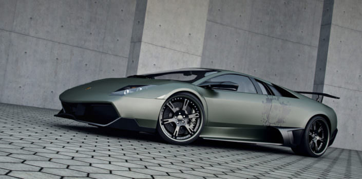 navi green murcielago with skull design and wheels, exhaust and power upgrade up to 720hp