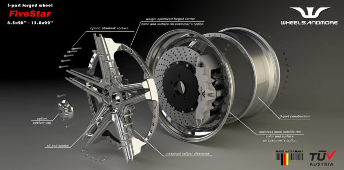 fivestar hybrid wheels with individual upgrade options for maserati