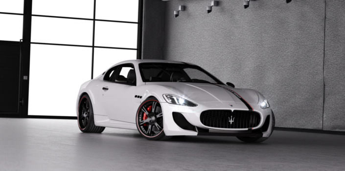 black 6sporz rims with red outline on white mc stradale maserati