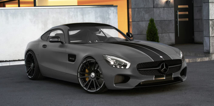 conversed mercedes amg gt with 21 inch fiwe concave forged wheels and suspesnion springs
